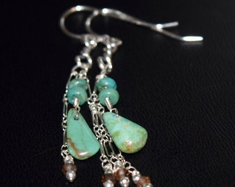 Arizona Turquoise Earrings~ Sterling Silver Turquoise Dangling Earrings~ Gifts for Her