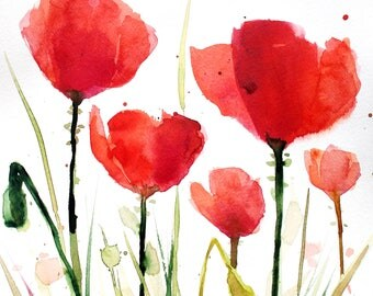 Original watercolor painting - Red poppies #1 - Abstract floral painting - Floral painting - Poppy watercolour - deep red - flower painting