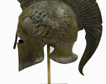 Corinthian Solid Bronze helmet with Chariot - Ancient Spartan Athenian armor