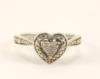 Vintage CZ Heart Filigree Ring 925 Sterling Silver RG 2668