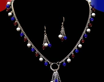 Red, white and blue beaded necklace with matching earrings, perfect for 4th of July!