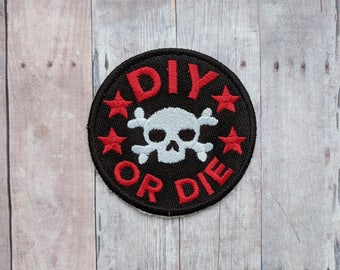 DIY or Die Patch, Crafty Merit Badge, Embroidered Black Canvas with White Skull and Red Text and Stars, Choice of Finding, Made in USA