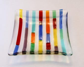 Rainbow Stripe Glass Plate, Fused glass plate