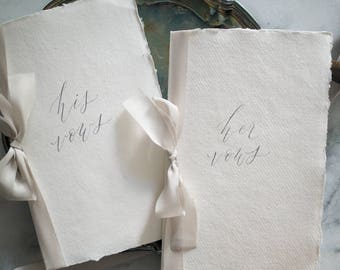 Handmade Paper Vow Books (Set of 2) with Silk Ribbon
