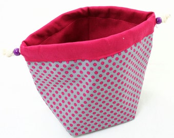 Pink-gray drawstring  project bag