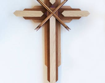 Large Wooden Cross in multi layer and multi wood combination