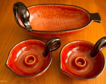 Bitossi bird bowl and candle holder set.