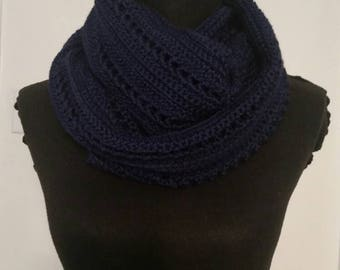 Navy infinity scarf, handmade crocheted item