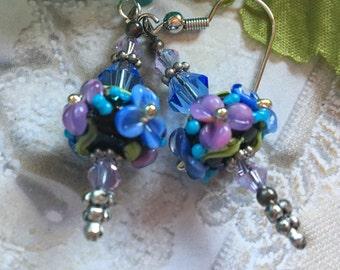 Flower Lampwork Earrings, Black, Lilac & Periwinkle Blue Floral Earrings, Lampwork Jewelry, SRA Lampwork Earrings, SRA Lampwork Jewelry