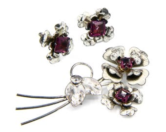 Floral Jewelry Set, Sterling Silver And Rhinestones, Brooch And Screw Back Earrings, Antique 1940s Jewelry, Sparkling Purple Stones Jewelry