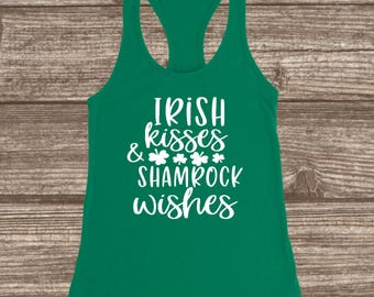 Irish Kisses & Shamrock Wishes St. Patrick's Day Tank Top - St. Patty's Day Shirts for Women - Racerback Tank