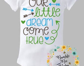 Our Little Dream Came True, Onesie or Tee - Super Cute (Personalized for Girl or Boy) - Pick Your Colors