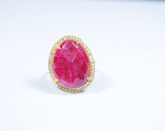 Ruby ring, Ruby irregular shape ring, Ruby kidney shape ring, pave Ring, Kidney shape ring, Cubic zircon ring,stackable ring,adjustable ring