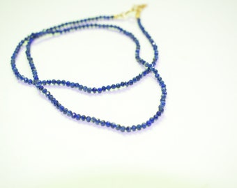 lapis necklace,beaded necklace,choker necklace,tiny necklace,blue color necklace,birthstone necklace,women jewelry,gemstone necklace,