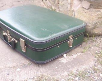 Vintage Retro Dark Green Suitcase Suit Case Luggage Travel Trunk Storage Display