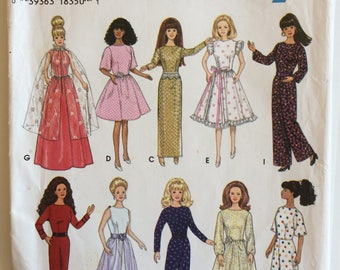 Fashion dolls clothes pattern - 1990's - Simplicity sewing pattern 9838