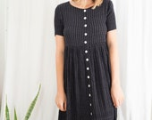 vintage black 90's button up babydoll midi dress