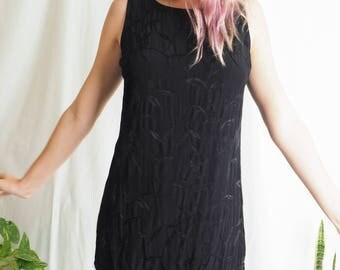 vintage black mini shift dress with fringing