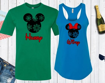 Hubby Wifey Disney Christmas  Matching Shirts. Disney Couples Shirt. Disney Valentines Day. Christmas Matching Shirt.