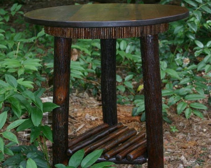 Featured listing image: Rustic Furniture, Mountain Modern, Refined Rustic, Rustic Round Table, Hickory Furniture, Lodge Furniture