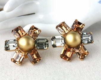 Vintage CINER Rhinestone Earrings , Statement Jewelry , High End Signed