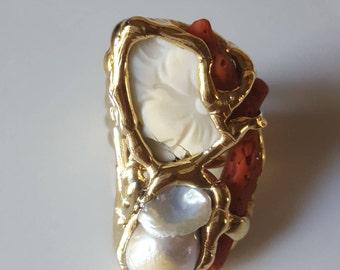 Handmade ring, coral, cameo, baroque pearl.