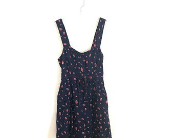 Pin-up Style Open Back Sundress in Strawberry Print