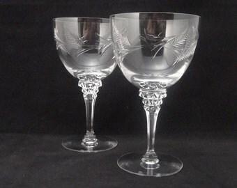 Set of 2 Crystal Wine Glasses, Etched Leaf Design, Cut Stem Design, Stemware