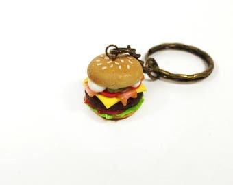 Burger keychain, Hamburger keychain, Cheeseburger keychain, Fast food accessory, Burger jewelry, miniature food accessory, Food keychain