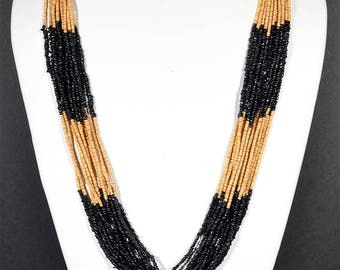 Black and gold beaded necklace short