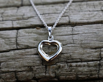 Heart Necklace, Puffed Heart Pendant, Hollow Heart Locket Necklace, Heart Jewellery, Silver Pendant, Pendant Necklace, Silver, JP0039