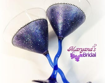 Galaxy. Blue Black Purple Silver White Wedding Martini Glasses. Blue Martini Glasses. Galaxy Blue Wedding Party. Galaxy Blue Bridal Shower.