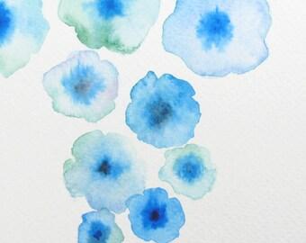 ORIGINAL watercolor, Flowers watercolor, Blue flower artwork, Blue watercolor, Floral decor, Abstract watercolor,  Flower painting