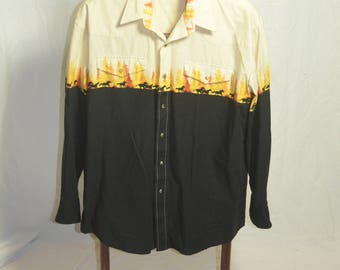 Mens Roper Snap Button Down Western Shirt with Horses and Treescape - Size Large