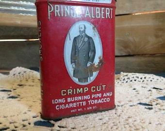 Prince Albert Crimp Cut Tobacco Tin, vintage, rustic, country, tobacciana collectable