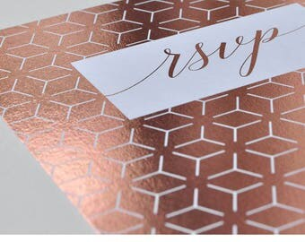 Foil RSVP Cards - Linea design, personalised and customisable