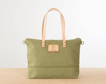 Fabric bag, Tote bag, Handmade bag, Messenger bag, day bag, go to work bag, Shoulder bag, woman bag, green bag, khaki bag