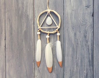 White Dreamcatcher Car Rearview Mirror Accessories for Women Car Dream Catcher Small Dreamcatcher Gold Dipped Feather Car Agate Dreamcatcher