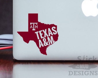 Texas A&M State Vinyl Decal