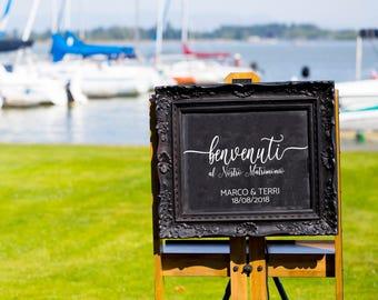 Benvenuti al Nostro Matrimonio DECAL, Rustic Wedding Welcome Sign, DECAL only, Wedding Welcome Sign, Do it yourself Wedding Welcome Sign