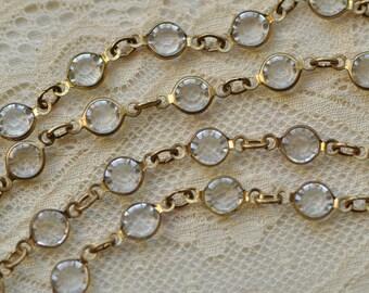 1 Foot 6 mm Bezel Set Crystal & Brass Chain Glass Links Sold per Foot Gold Tone Q3