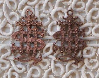 Vintage Society of Jesus Jesuit Monogram Emblem Pendant Charm Napoleon III French Religious Medal 1 Piece 365J