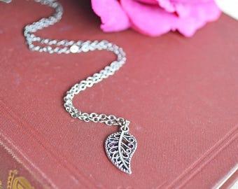 Silver Filigree Leaf Necklace, Silver Leaf, Nature Jewellery