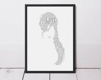 Amy Winehouse Typography Art Print