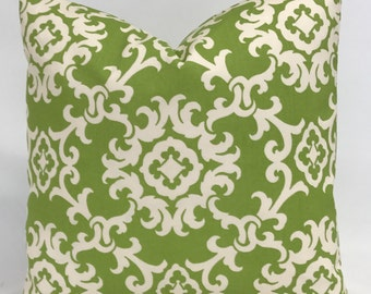 Pillow Cover - Outdoor Pillow - Modern Lime Green & White Pillow -  Medallion Design Pillow - Fully Lined - Zippered - Indoor Pillow