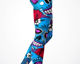 Blue Candy sugar skull leggings Yoga Leggings/ Yoga pants
