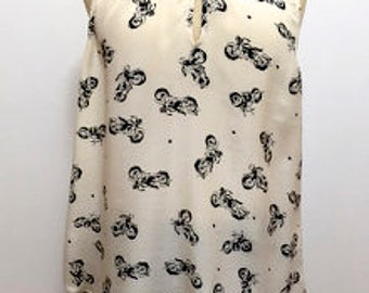 Motorcycle print blouse by Lucky Brand