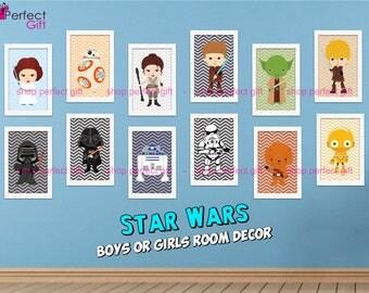 Star Wars Nursery Decor / Printable Art Star Wars Baby / Digital Printing DECORATION starwars yoda, darth and luke characters digital files