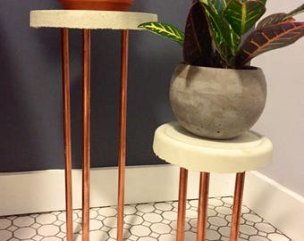 Handmade Modern Cement & Copper Plant Stand