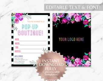 Instant Customizable Floral Striped Fashion Consultant and LLR Pop-Up Boutique Invitation TEMPLATE